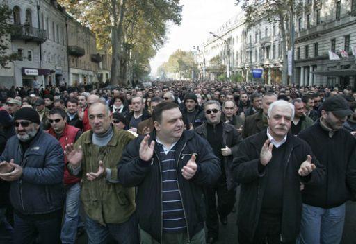تفريق مظاهرة مناهضة للنظام في العاصمة الجورجية