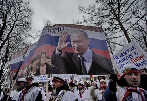 بوتين يدعو مؤيديه الى وحدة الصف والحيولة دون التدخلات الخارجية