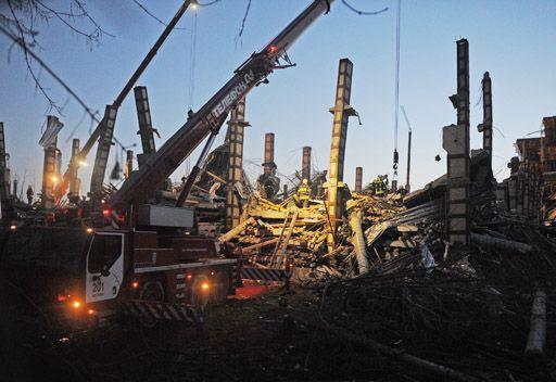 انهيار مبنى قيد الانشاء في العاصمة موسكو