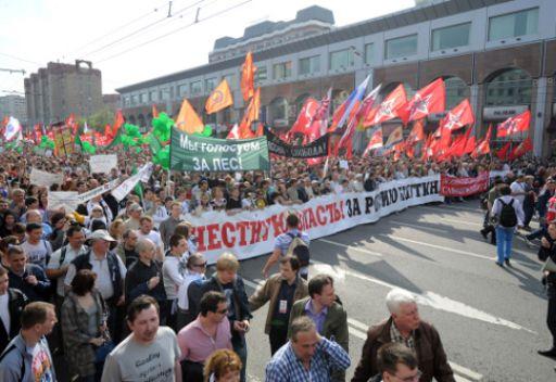 مظاهرة حاشدة في وسط موسكو احتجاجا على تنصيب بوتين رئيسا للبلاد