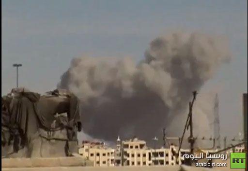 أنباء عن قصف طائرة حربية سورية لحي جوبر شرقي دمشق