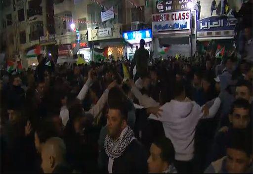 مشاهد لاحتفالات في رام الله بعد قبول فلسطين كدولة مراقبة غير عضو في الأمم المتحدة