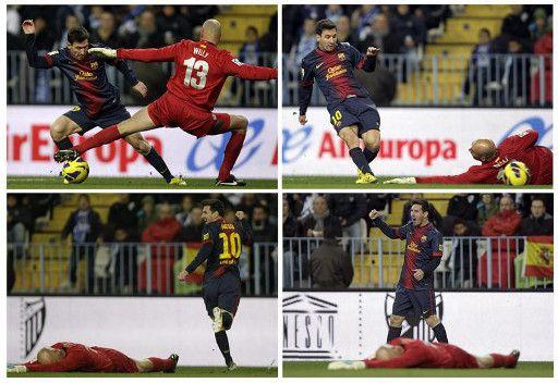 برشلونة يستعرض ويهزم ملقا في معقله