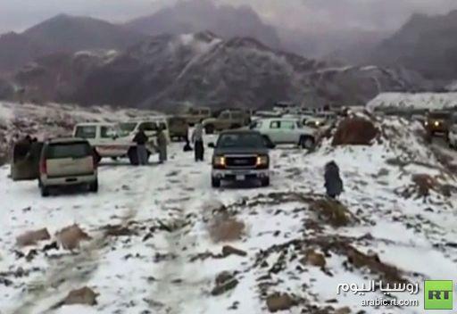 الثلوج تغطي جبل اللوز بمنطقة تبوك شمال السعودية