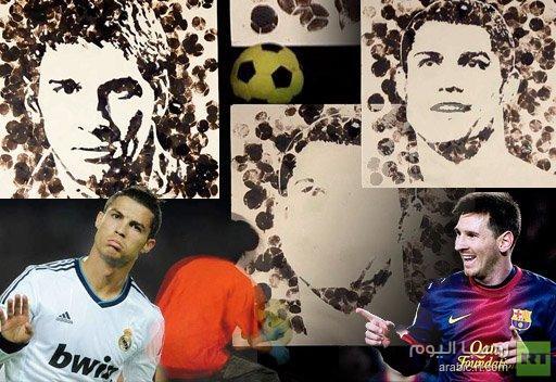 فيديو.. فنان يرسم ميسي ورونالدو بإستخدام كرة قدم !