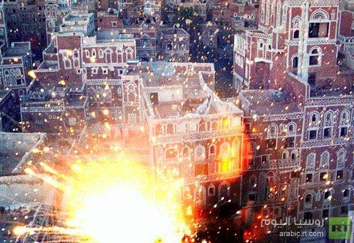 سقوط طائرة حربية في حي سكني بصنعاء