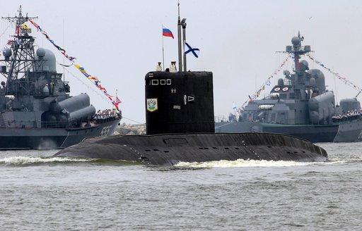 سفن القوات البحرية الروسية تتابع الأوضاع حول سورية