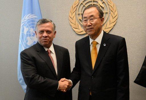 بان كي مون يبحث مع العاهل الأردني والرئيس عباس مسار عملية السلام والملف السوري