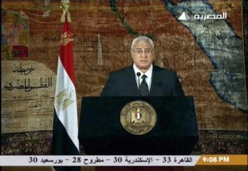 منصور: نعد دستورا لكل المصريين تليه انتخابات برلمانية ورئاسية
