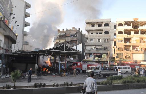 مقتل واصابة العشرات في سقوط 4 قذائف صاروخية على مدينة جرمانا بدمشق