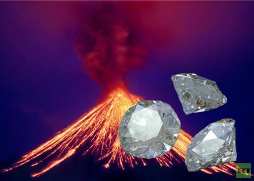 العثور على 3 احجار من الماس النادر في فوهة بركان بروسيا