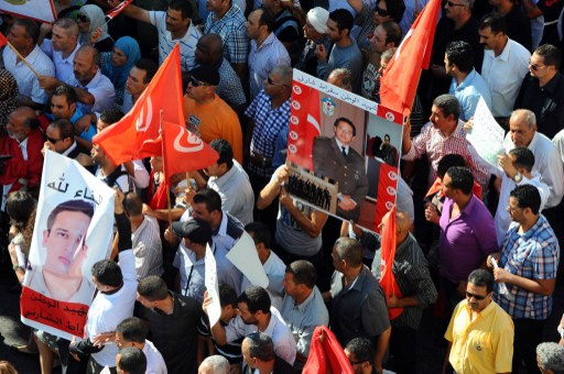 قوات الأمن الداخلي في تونس تنظم مظاهرة تنديدا بالارهاب