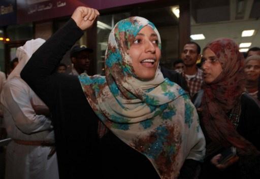 الناشطة اليمنية الحائزة على جائزة نوبل للسلام توكل كرمان