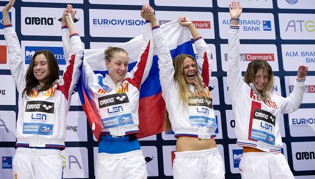 روسيا تتوج بذهبية سباق التتابع 50X4 م سباحة متنوعة برقم قياسي عالمي