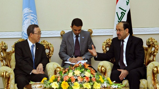 المالكي وبان كي مون يشددان على ضرورة الحل السلمي للأزمة السورية