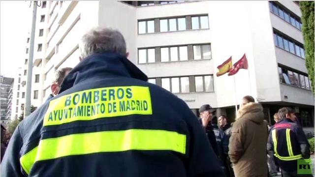 بالفيديو...رجال الاطفاء باسبانيا يحتجون من أجل اطلاق سراح زميل موقوف