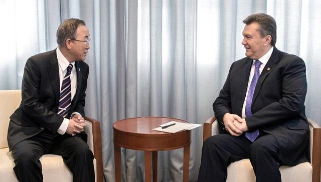 بان كي مون يبحث مع يانوكوفيتش تطورات الوضع في أوكرانيا