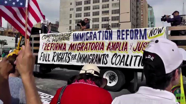 مظاهرة في الولايات المتحدة من أجل إصلاح قانون الهجرة (فيديو)