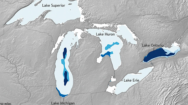 مياه البحيرات العظمى تتجمد وتحطم أرقاما قياسية(صور)