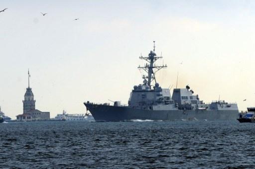 بالفيديو..المدمرة الأمريكية تراكستن تدخل مياه البحر الأسود