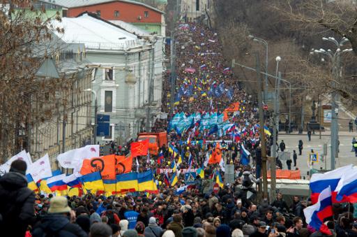 45 الف شخص يتظاهرون في روسيا دعما لاهالي القرم
