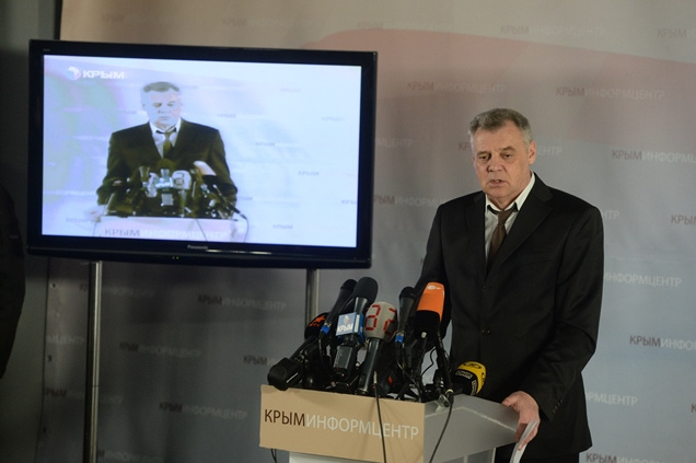 رئيس اللجنة الانتخابية في القرم ميخائيل ماليشيف يعلن النتائج الأولية للاستفتاء