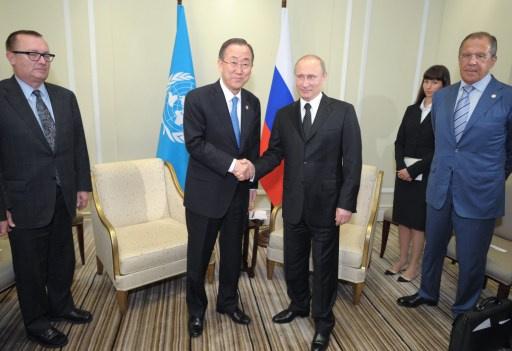 بوتين وبان كي مون من شنغهاي يؤكدان على الطرق السياسية لحل الأزمتين الأوكرانية والسورية