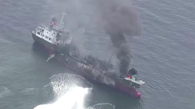 بالفيديو.. جرح 7 أشخاص وفقدان آخر في انفجار ناقلة نفطية غرب اليابان