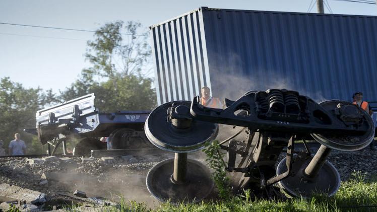 تفجير قطار شحن في دونيتسك شرق أوكرانيا (فيديو)