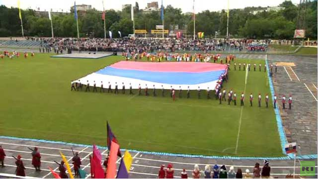 بالفيديو...كشف النقاب عن أكبر علم روسي في العالم