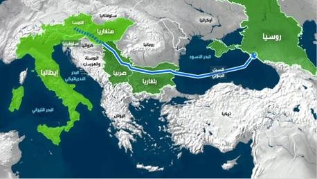 خريطة لخط سير أنابيب نقل الغاز الروسي إلى أوروبا عبر قاع البحر الأسود