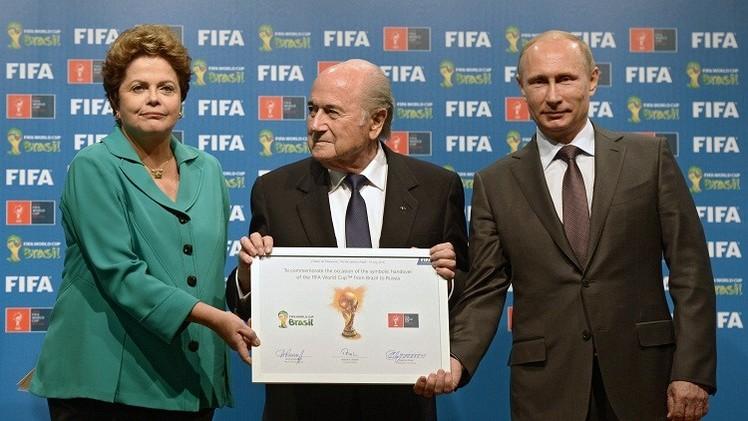 الرئيس بوتين يتسلم علم استضافة روسيا لمونديال 2018