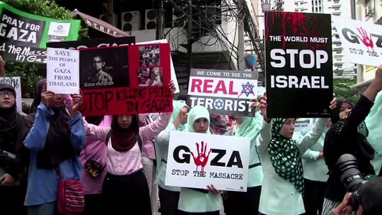 بالفيديو.. مظاهرة في تايلاند تنديدا بالعدوان على غزة