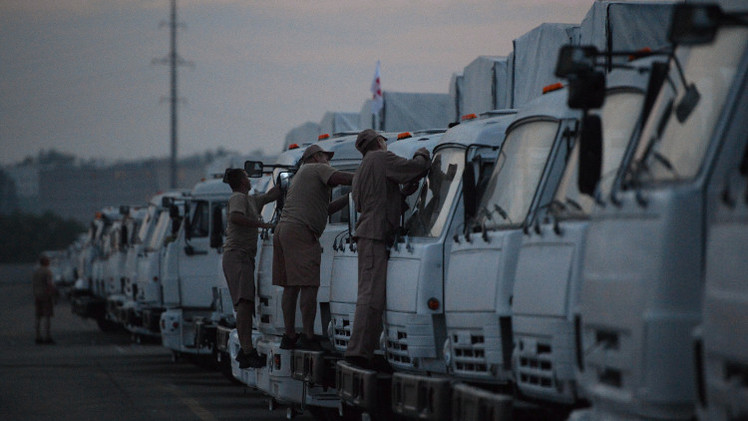 قافلة مساعدات إنسانية روسية تتوجه من ضواحي موسكو إلى شرق أوكرانيا