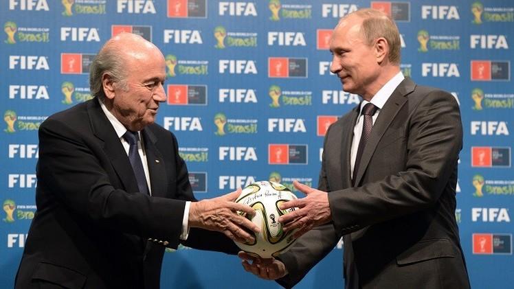 بلاتر يبحث مع بوتين استعدادات روسيا لمونديال 2018