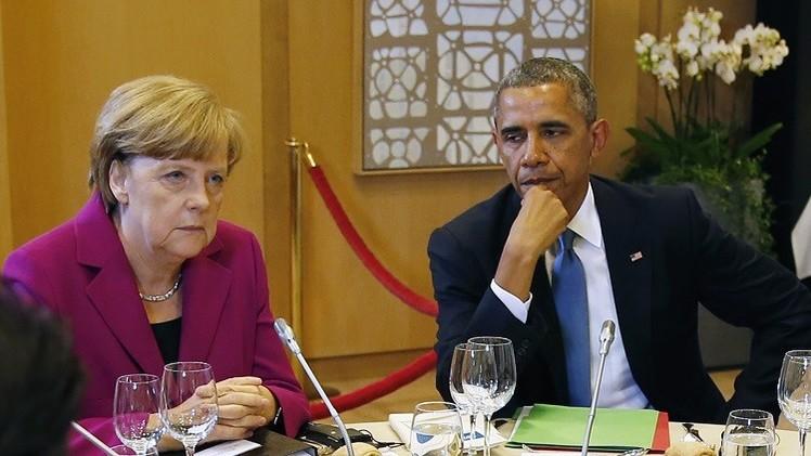أوباما وميركل يدينان عبور قافلة المساعدات الروسية حدود أوكرانيا