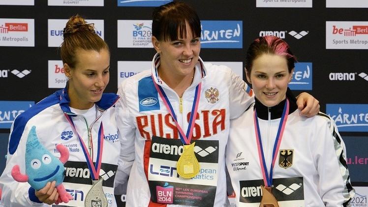 الروسية باجينا تتوج بذهبية قفز 3 أمتار في بطولة أوروبا للألعاب المائية