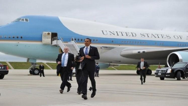 طائرة الرئيس أوباما تتعطل أثناء جولته في الولايات المتحدة