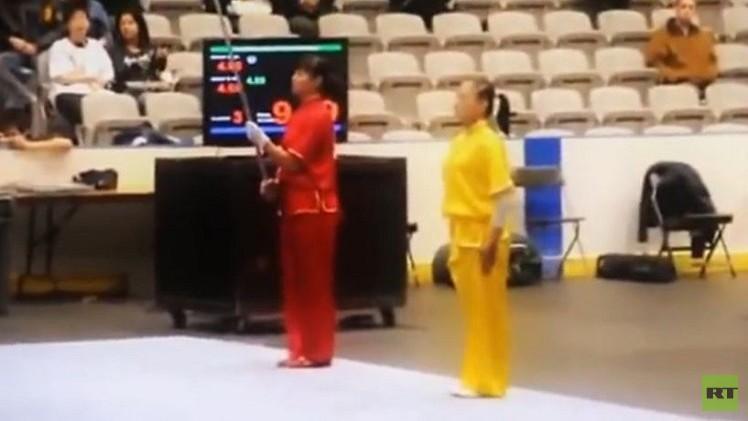 فيديو.. براعة شابتين في الفنون القتالية الصينية