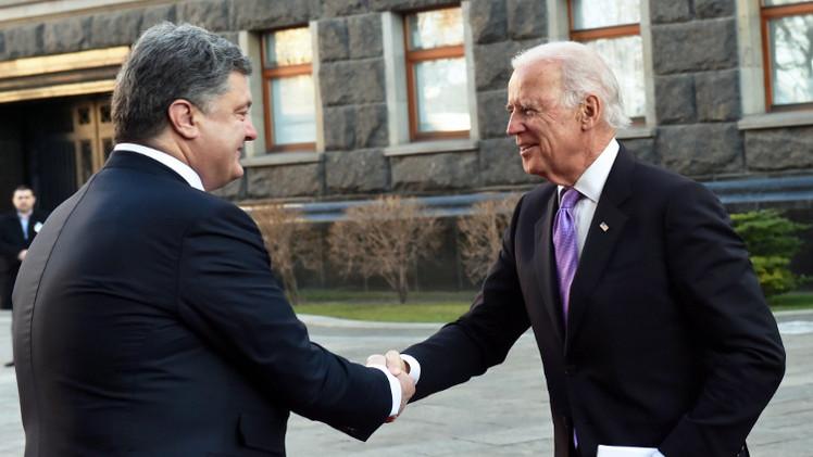 بوروشينكو وبايدن يؤيدان مفاوضات مينسك كأفضل صيغة لعملية السلام بأوكرانيا