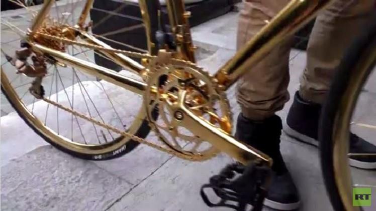بالفيديو من بريطانيا.. دراجة هوائية مصنوعة من الذهب سعرها أغلى من فيراري