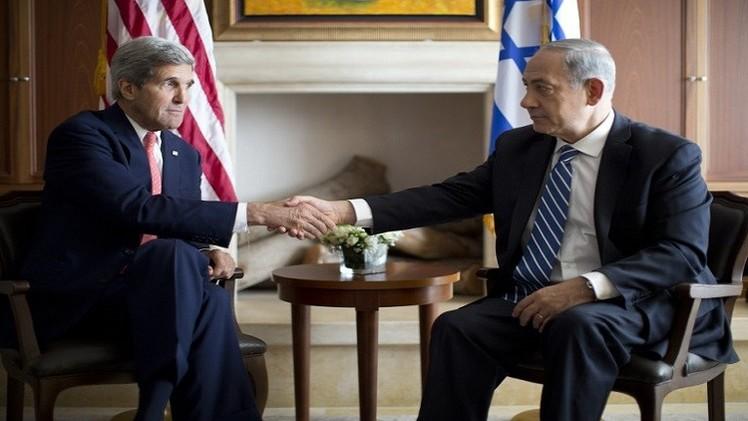 وزير الخارجية الأمريكي جون كيري ورئيس الوزراء الإسرائيلي بنيامين نتانياهو