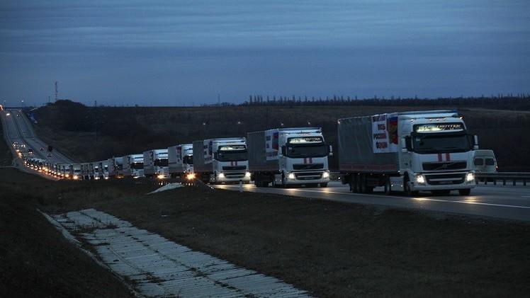 قافلة المساعدات الروسية الإنسانية العاشرة تعبر الحدود إلى شرق أوكرانيا