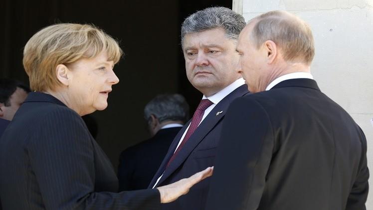 بوتين وميركل وبوروشينكو يناقشون حيثيات وقف إطلاق النار شرقي أوكرانيا