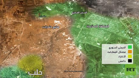 صورة توضح مناطق السيطرة على ريف حلب بداية العام الحالي
