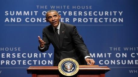 باراك أوباما خلال مؤتمر الأمن الإلكتروني