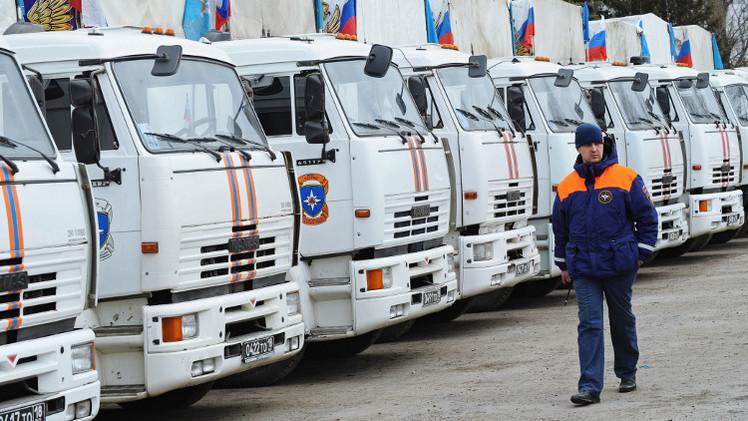 قافلة مساعدات إنسانية روسية جديدة تصل إلى شرق أوكرانيا