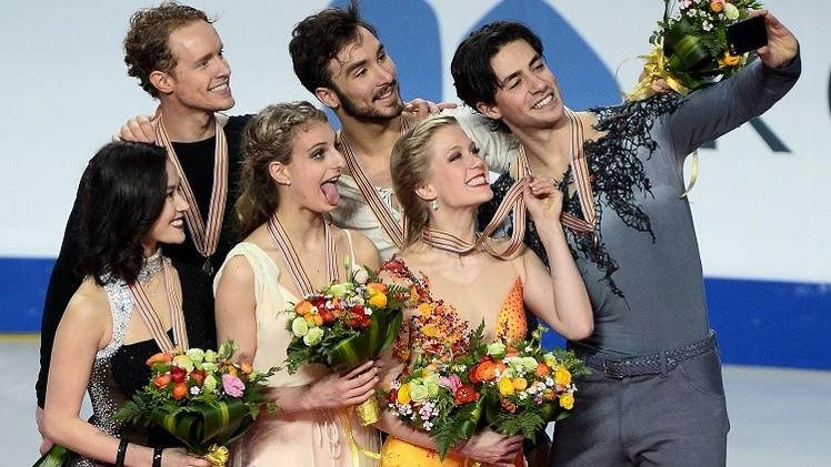 بالفيديو .. ذهبية الرقص الفني على الجليد بألوان فرنسية
