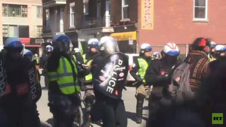 تفريق مظاهرة في مونتريال بقنابل الغاز (فيديو)