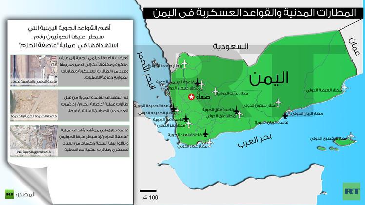 إنفوجرافيك: المطارات المدنية والقواعد العسكرية في اليمن